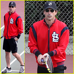 Jon Hamm Sports His Home Team During Tennis Practice