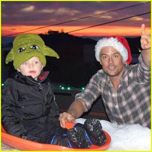 Josh Duhamel Goes Sledding with His Son Axl