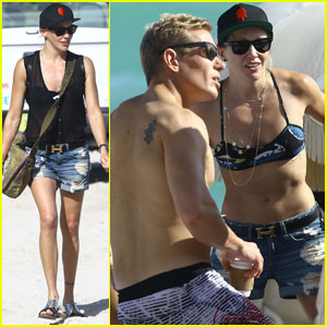Katie Cassidy Hits the Beach With Trainer Thomas Taylor