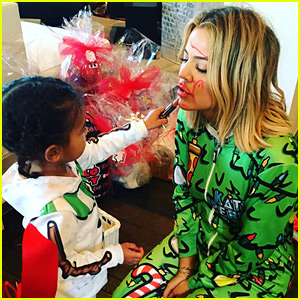 Khloe Kardashian Lets North West Do Her Makeup on Christmas