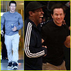 Mark Wahlberg Laughs with Denzel Washington at Lakers Game