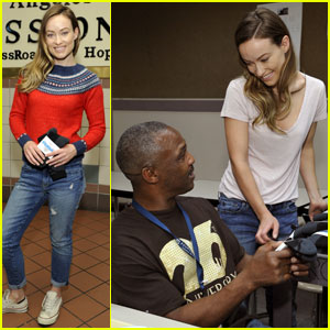 Olivia Wilde Hands Out Socks to Those in Need at L.A. Mission