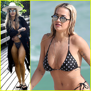 Rita Ora Continues to Enjoy Vacation with Friends on the Beach