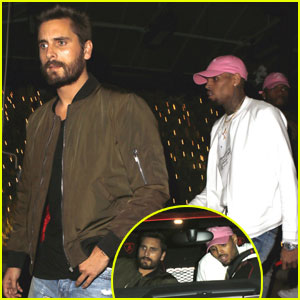 Scott Disick & Chris Brown Hang Out in West Hollywood