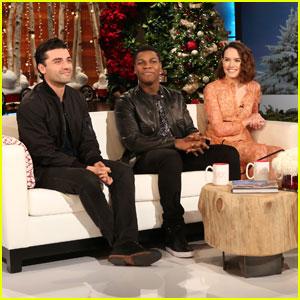 Daisy Ridley, John Boyega, & Oscar Isaac Talk 'Star Wars: The Force Awakens' Romance With 'Ellen'