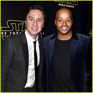 Zach Braff & Donald Faison Reunite at 'Star Wars' Premiere!