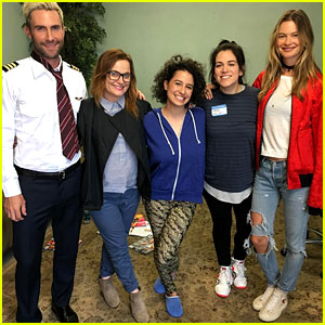 Adam Levine Films 'Broad City' with Behati Prinsloo By His Side