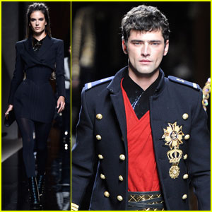 Alessandra Ambrosio & Sean O'Pry Walk for 'Balmain' in Paris