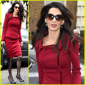 Amal Clooney Starts the Week as the Lady in Red