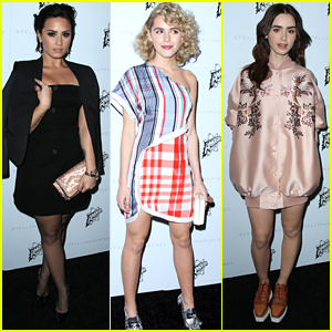 Demi Lovato & Kiernan Shipka Step Out in Style For Stella McCartney's Fall Fashion Show