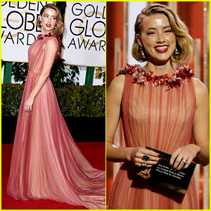 Amber Heard Supports 'Danish Girl' at Golden Globes 2016