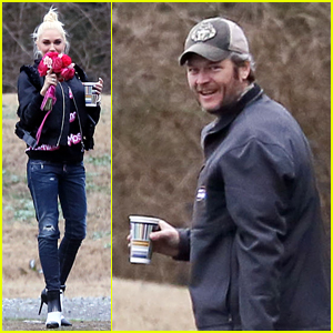 Gwen Stefani Holds on Tight to Red Roses After Attending Wedding with Blake Shelton