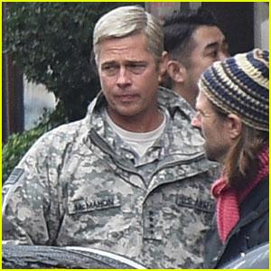 Brad Pitt Sports Gray Hair on 'War Machine' Set in Paris