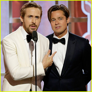 Brad Pitt & Ryan Gosling Share Funny Interaction at Golden Globes 2016! (Video)