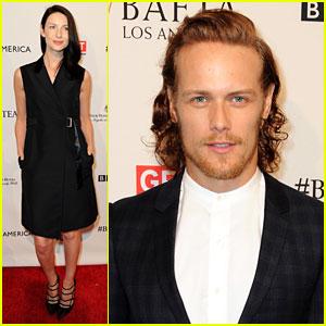'Outlander' Stars Caitriona Balfe & Sam Heughan Attend BAFTA Tea Before Golden Globes!