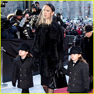 Celine Dion Holds Her Twins' Hands at Rene Angelil's Funeral