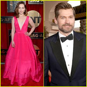 Emilia Clarke Is Pretty in Pink at SAG Awards 2016 with Nikolaj Coster-Waldau!