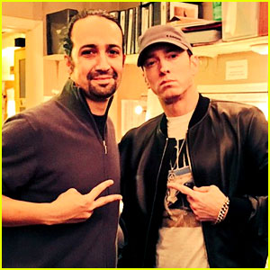 Eminem Meets Fellow Rap Genius Lin-Manuel Miranda at Broadway's 'Hamilton'