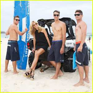 Heidi Klum Poses with Some Shirtless Lifeguards to Promote #HeidiKlumMan!