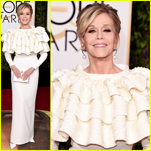 Jane Fonda Is Lady In White at Golden Globes 2016!