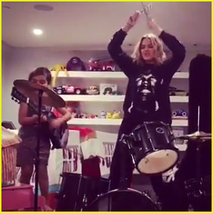 Khloe Kardashian Plays Drums for Mason's Rock Band! (Video)