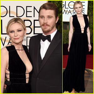 Kirsten Dunst Flaunts Major Cleavage at Golden Globes 2016 With Garrett Hedlund