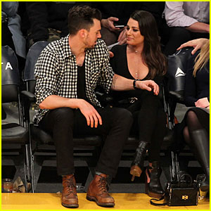 Lea Michele & Matthew Paetz Cuddle Up at Lakers Game