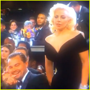 Leonardo DiCaprio Has Priceless Reaction to Lady Gaga Walking By at Golden Globes 2016 (Video)