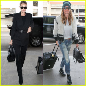Rosie Huntington-Whiteley & Behati Prinsloo Jet Off to Paris