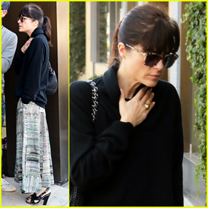 Selma Blair Keeps Warm For Midday Coffee Run with a Friend