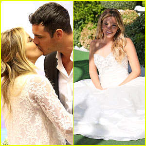 The Bachelor's Becca Tries on Wedding Dress with Ben Higgins