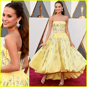 Alicia Vikander Shows Off Her Louis Vuitton Gown at Oscars 2016!