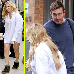 Amy Schumer Gets a Set Visit from Boyfriend Ben Hanisch!