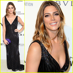 Ashley Greene Wears a Pop of Purple at EJAF AIDs Foundation's Oscar Viewing Party 2016