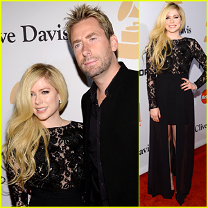 Avril Lavigne & Ex Chad Kroeger Walk Red Carpet at Clive Davis' Pre-Grammys 2016 Party!