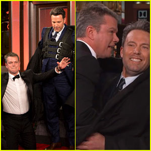 Ben Affleck Smuggles Matt Damon Onto Jimmy Kimmel's Oscars Special (Video)