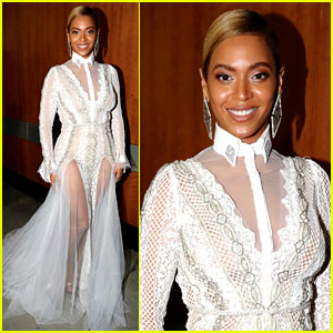 Beyonce Stuns in Sheer White Gown at Grammys 2016