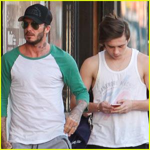 David Beckham & Son Brooklyn Spend Super Bowl Weekend Together