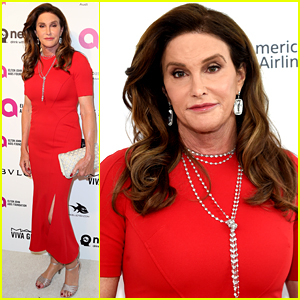 Caitlyn Jenner Steps Out in Red at Elton John's Oscar Viewing Party!