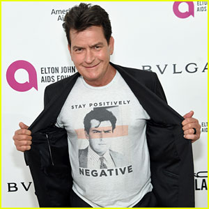 Charlie Sheen Makes Rare Appearance at Oscar Viewing Party