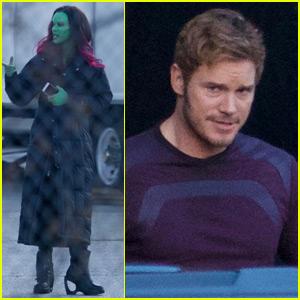 Chris Pratt & Zoe Saldana Get Into Character on 'Guardians 2' Set
