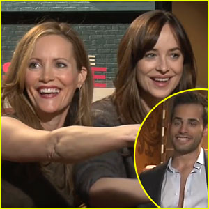Dakota Johnson & Leslie Mann Hit on Hot Reporter (Video)