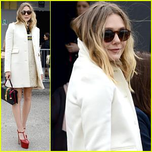 Elizabeth Olsen Heads To The Gucci Show For Milan Fashion Week