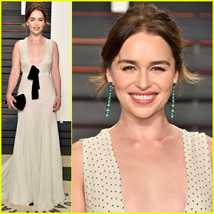 Emilia Clarke Rocks Deep Plunge at Vanity Fair Oscar Party!