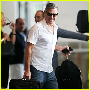 George Clooney Jets Out of Miami Beach With Rande Gerber & Cindy Crawford