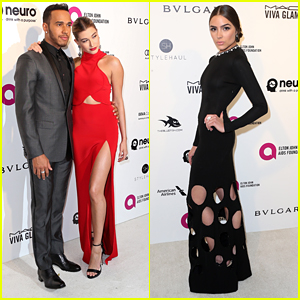 Hailey Baldwin & Lewis Hamilton Couple Up For EJAF AIDs Foundation's Oscar Viewing Party 2016