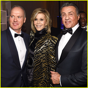 Jane Fonda Lives It Up with Michael Keaton & Sylvester Stallone At Clive Davis' Pre-Grammys 2016 Party!