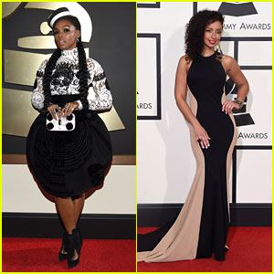 Janelle Monae Supports Artists From Her Label at 2016 Grammys