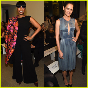 Katie Holmes & Jennifer Hudson Pose with Zac Posen Backstage During NYFW