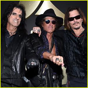 Johnny Depp & Hollywood Vampires Arrive to Grammys 2016!